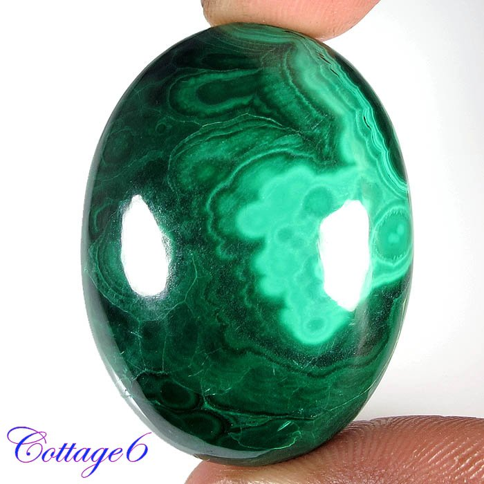Certified 104.89Cts. NATURAL GREEN MALACHITE CABOCHON GEMSTONE C6 216