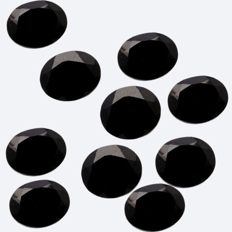 Certified Natural Black Spinel AAA Quality 10x14 mm Faceted Oval 10 pcs lot loose gemstone
