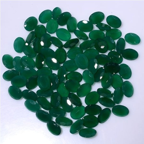 Certified Green onyx AAA Quality 7x5 mm Faceted Oval 25 pcs lot loose gemstone