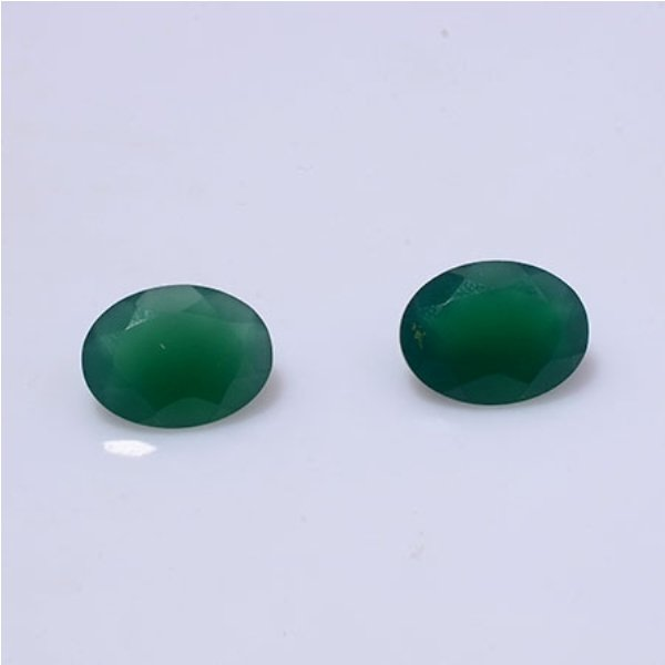 Certified Green onyx AAA Quality 20x15 mm Faceted Oval 2 pcs Pair loose gemstone