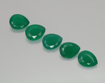 Certified Green onyx AAA Quality 10x8 mm Faceted Pear 5 pcs lot loose gemstone