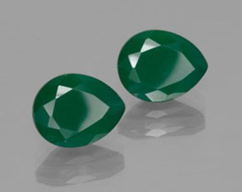 Certified Green onyx AAA Quality 16x12 mm Faceted Pear 2 pcs Pair loose gemstone