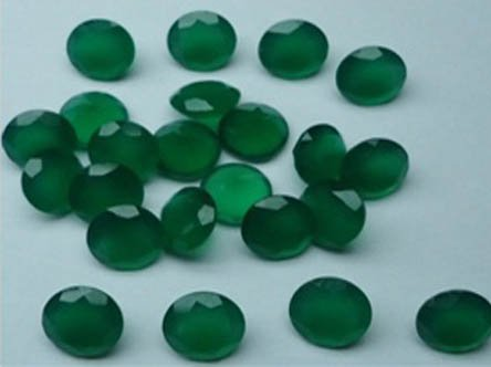 Certified Green onyx AAA Quality 8 mm Faceted Round 2 pcs Pair loose gemstone
