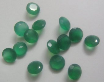 Certified Green onyx AAA Quality 8 mm Faceted Round 10 pcs lot loose gemstone