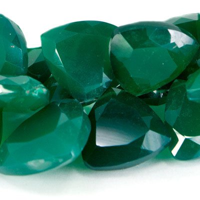 Certified Green onyx AAA Quality 11 mm Faceted Trillion 2 pcs Pair loose gemstone