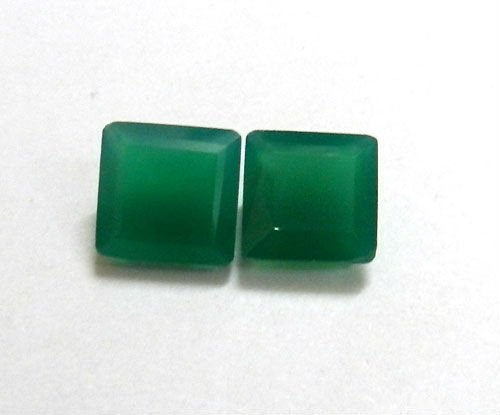 Certified Green onyx AAA Quality 7x5 mm Faceted Octagon 2 pcs Pair loose gemstone