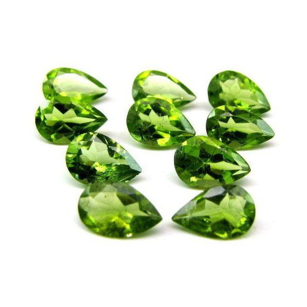 Certified Natural Peridot AAA Quality 7x5 mm Faceted Pear 10 pcs lot loose gemstone