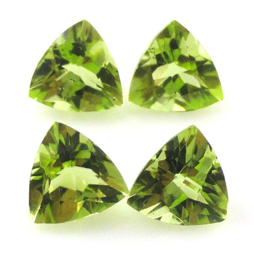 Certified Natural Peridot AAA Quality 5 mm Faceted Trillion 2 pcs pair loose gemstone