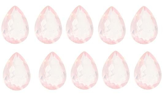 Certified Natural Rose Quartz AAA Quality 9x7 mm Faceted Pear 25 pcs lot loose gemstone