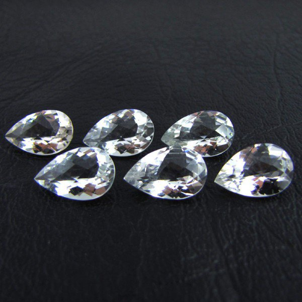 Certified Natural White Topaz AAA Quality 10x7 mm Faceted Pear 25 pcs lot loose gemstone