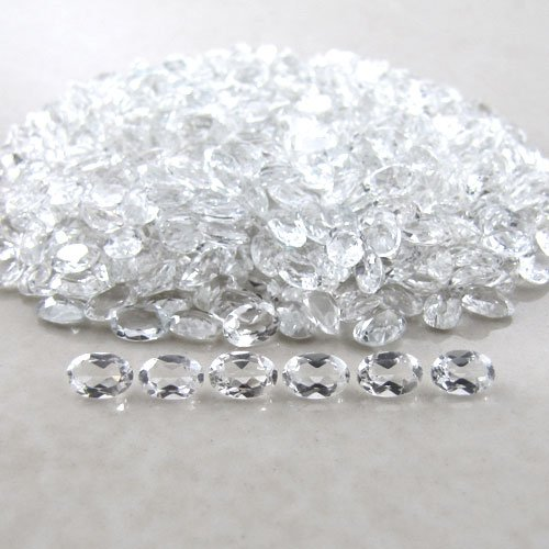 Certified Natural White Topaz AAA Quality 6x4 mm Faceted Oval 25 pcs lot loose gemstone