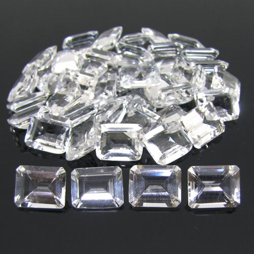 Certified Natural White Topaz AAA Quality 8x6 mm Faceted Octagon 50 pcs lot loose gemstone