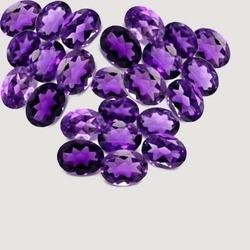 Certified Natural Amethyst AAA Quality 10x8 mm Faceted Oval 25 pcs lot loose gemstone