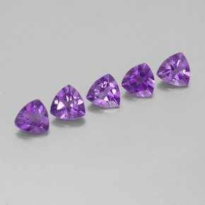 Certified Natural Amethyst AAA Quality 4 mm Faceted Trillion 5 pcs lot loose gemstone