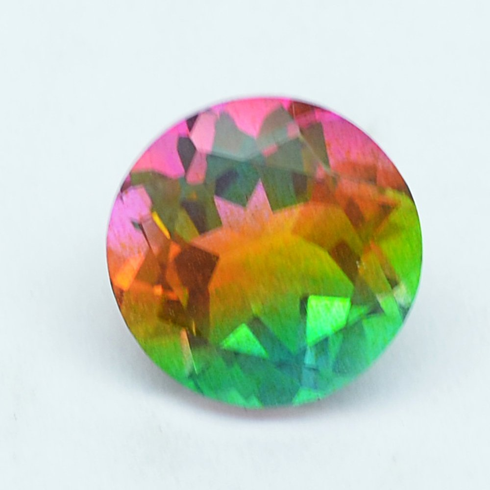 Certified Quartz Doublets Try-color AAA Quality 18 mm Faceted Round 2 pcs pair loose gemstone