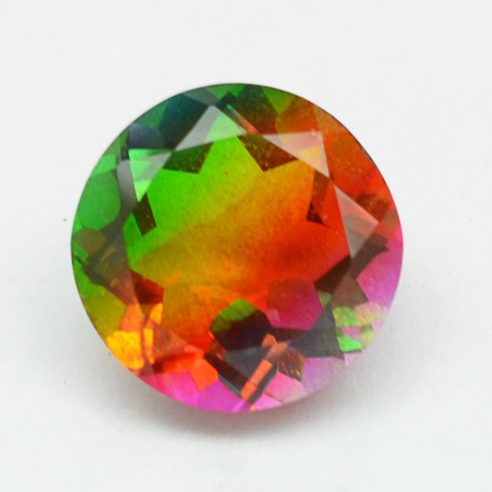 Certified Quartz Doublets Try-color AAA Quality 20 mm Faceted Round 1 pc loose gemstone