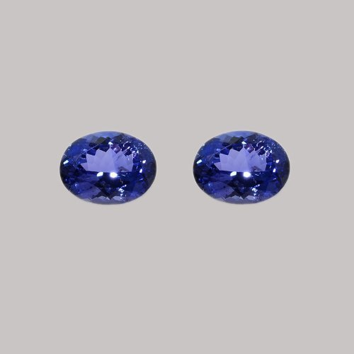 Certified Natural Tanzanite AAA Quality 8x6 mm Faceted Oval 2 pcs pair loose gemstone