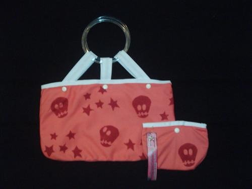Unique hand bag with skulls and stars + wallet