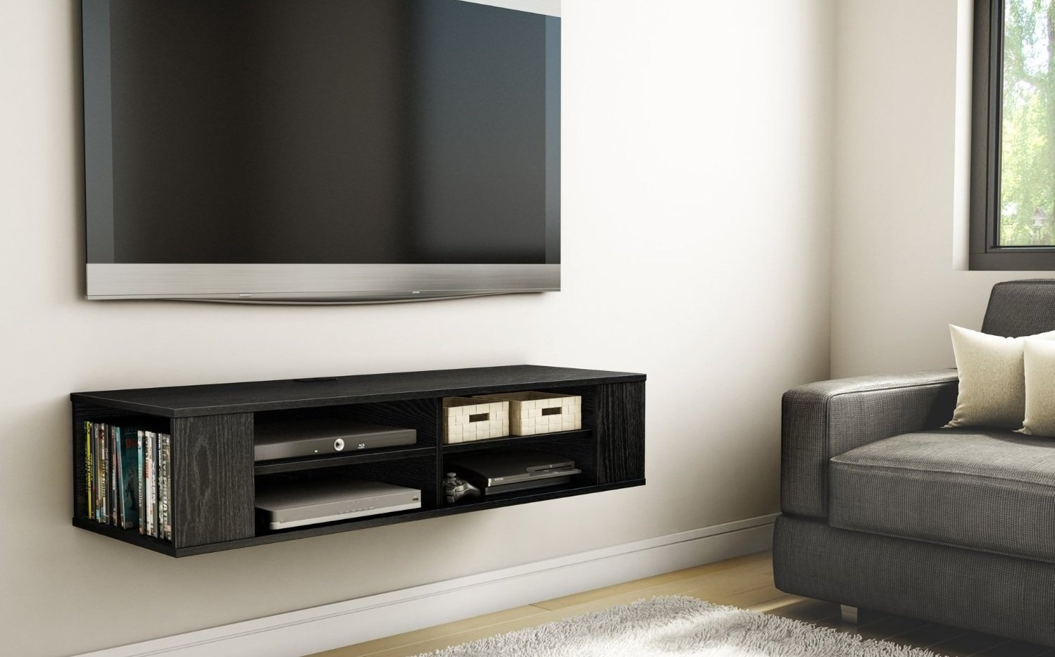 TV Black Media Floating Entertainment Center Shelf Cabinet Office ...