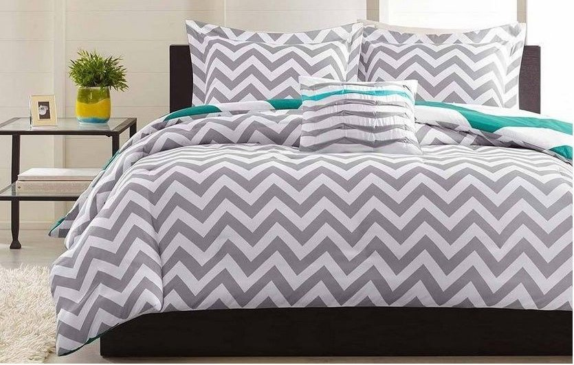 Teal Chevron King Bedding