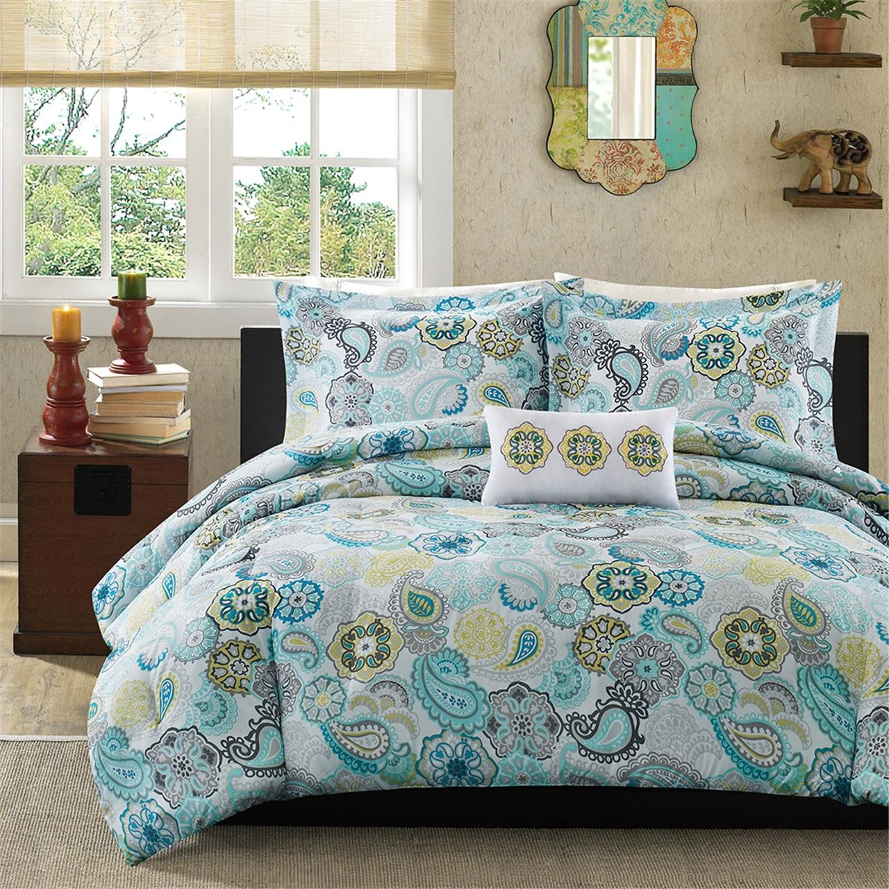 Queen 4 Piece Paisley Comforter Set Blue Flowers Floral