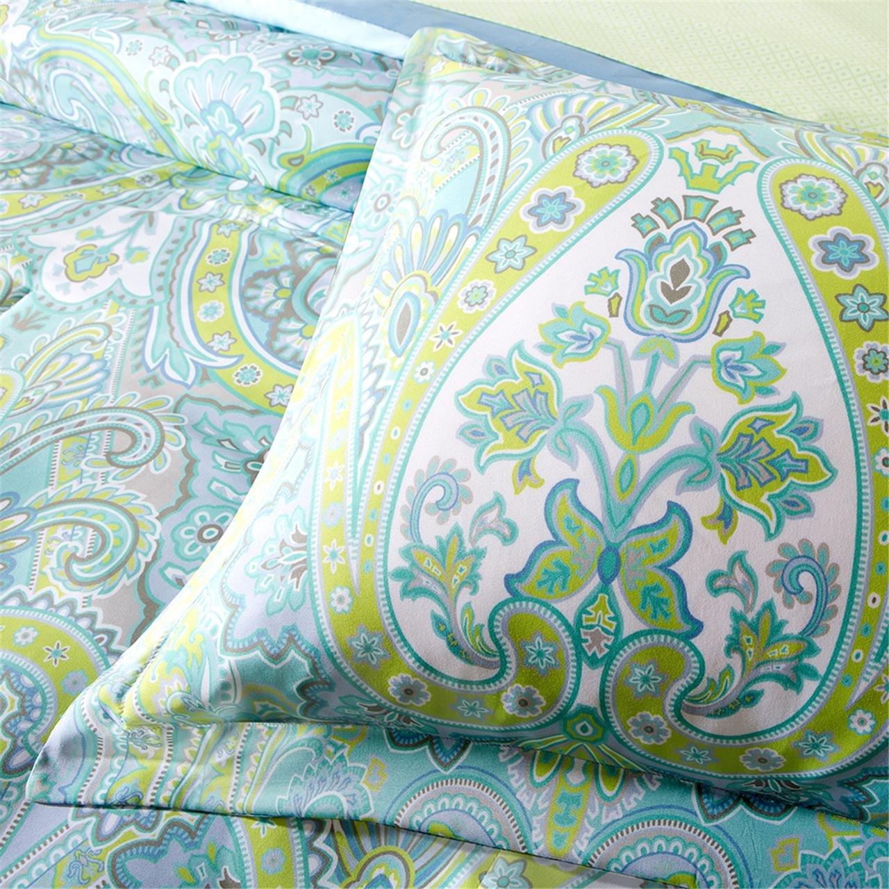 9 Pc Aqua Blue Green Paisley Queen Comforter Set Teal Boho