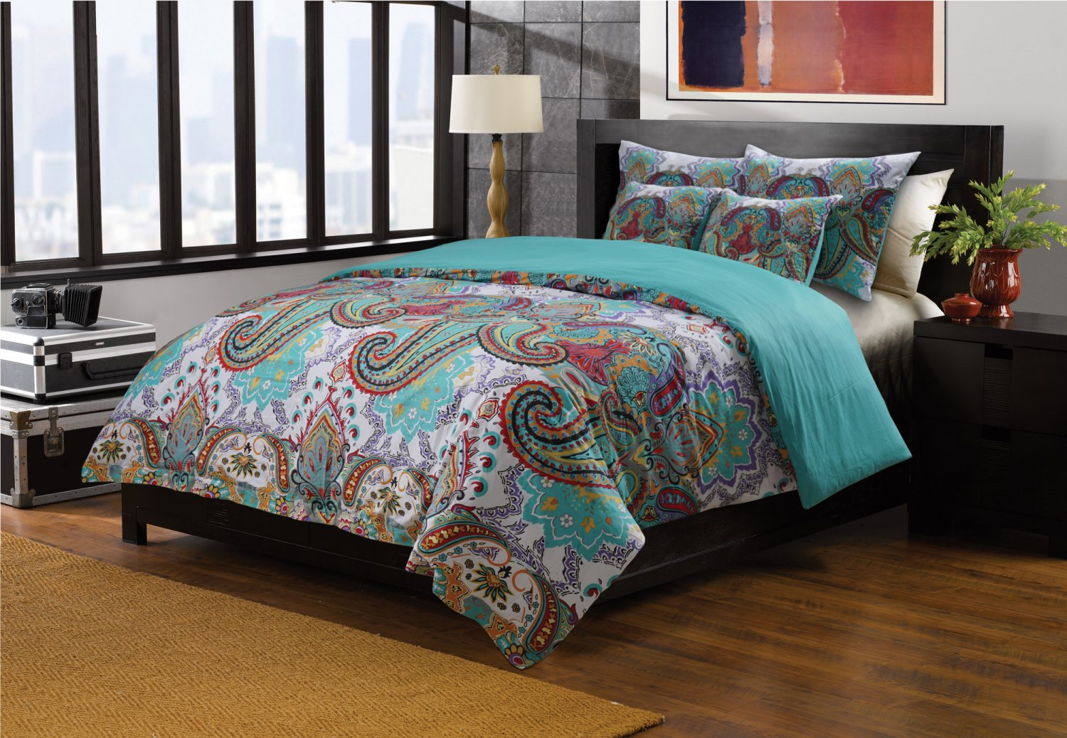 King Teal Blue Turquoise Paisley Quilt Coverlet Bedspread