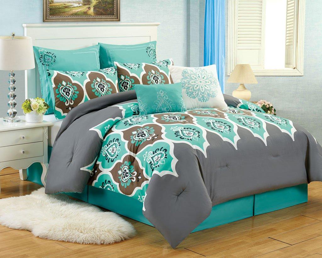8 Pc Teal Grey Ogee King Comforter Set Boho Gray Blue