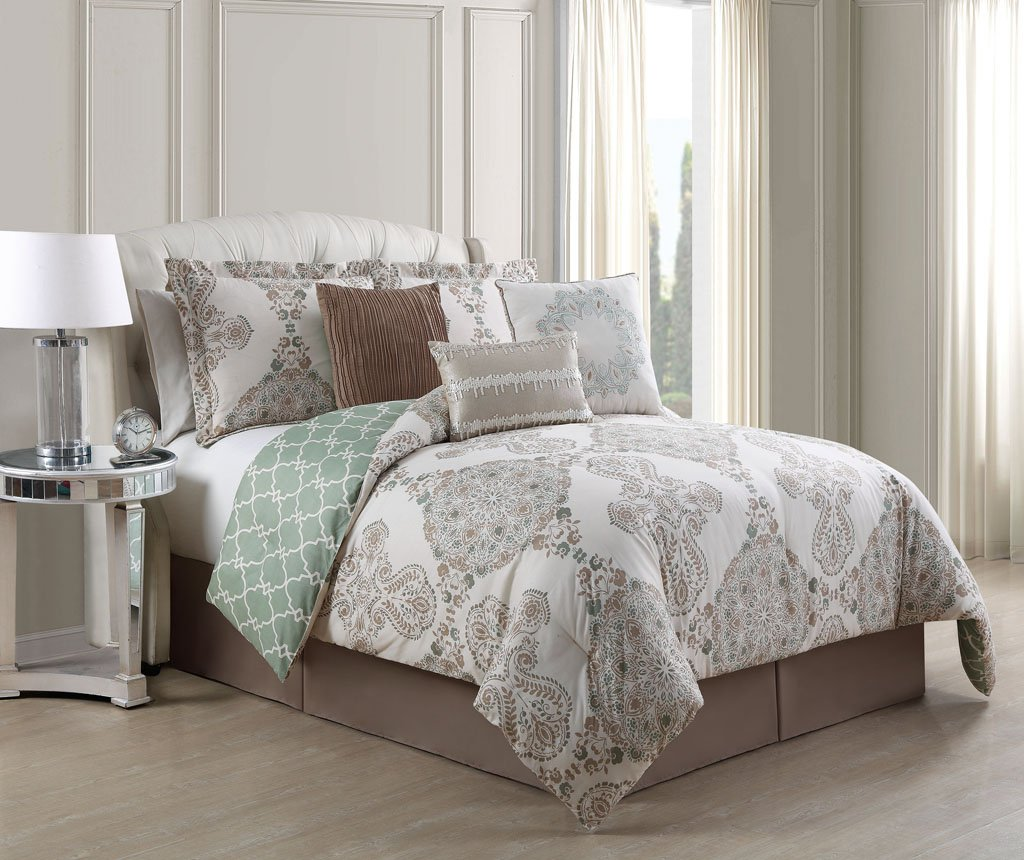 7 Pc Taupe Sage Beige QUEEN forter Set Green Floral