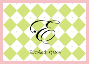 Personalized Pink & Green Diamond Note Cards