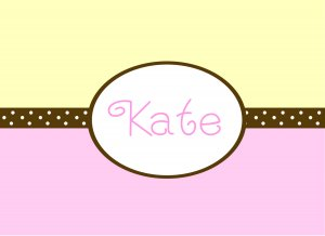 Personalized Pink Yellow & Brown Dot Band Note Cards