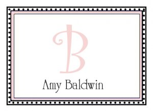 Personalized Pink Border Note Cards