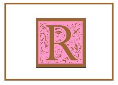 Personalized Pink & Bown Monogram Note Cards