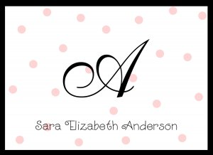 Personalized Pink Dot Note Cards