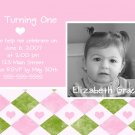 Pink & Green Photo Card Birthday Party Invitations