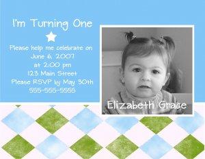 Blue & Green Photo Card Birthday Party Invitations