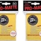 (x100) ULTRA PRO Card Sleeves *PRO-MATTE YELLOW* DECK PROTECTORS MTG Pokemon