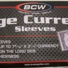 200 BCW Currency Poly Sleeves soft - Large Bill size - 2 PACK LOT