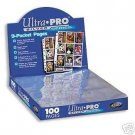 100 BASEBALL TRADING CARD STORAGE PAGES FOR ALBUM BINDER ULTRA PRO 81442-100