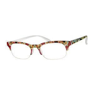 NEW SEMI RIMLESS FRAME READING GLASSES YELLOW PINK WHITE FLORAL A6052A +2.50