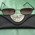 BIFOCAL READING SUNGLASSES GLASSES WITH CASE SLIM BLACK METAL FRAME +2.5