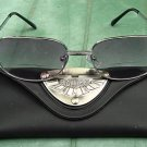 BIFOCAL READING SUNGLASSES GLASSES WITH CASE LARGE SILVER METAL FRAME +2.5
