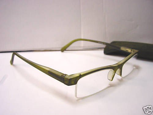 STYLISH READING GLASSES SPRUNG ARM DK GREEN +1.0 D509