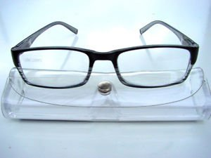 STYLISH BIFOCAL CLEAR READING GLASSES + 3.50 BLACK WITH SUBTLE STRIPE R652