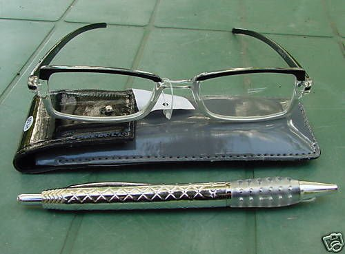 READING GLASSES GREY/BLACK + 3.0 STRENGTH PEN & POUCH