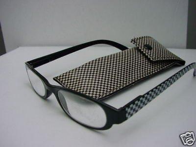 READING GLASSES BLACK/GREY CHECK + CASE +3.0 D495