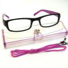 BLACK PURPLE READING GLASSES WITH NECK CORD & CASE +3.0 D523