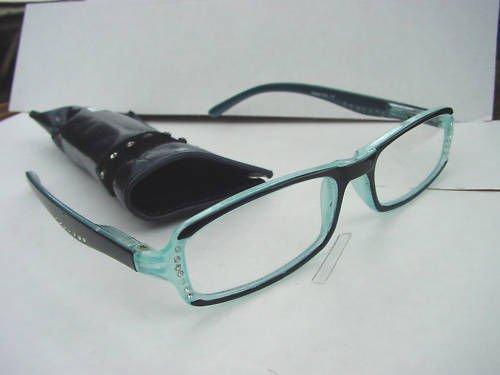 READING GLASSES SPRUNG ARM DIAMANTE STUDDED BLUE +1.0