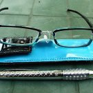READING GLASSES BLUE/BLACK + 3.0 STRENGTH PEN & POUCH