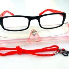 BLACK RED READING GLASSES WITH NECK CORD & CASE +2.0 D523